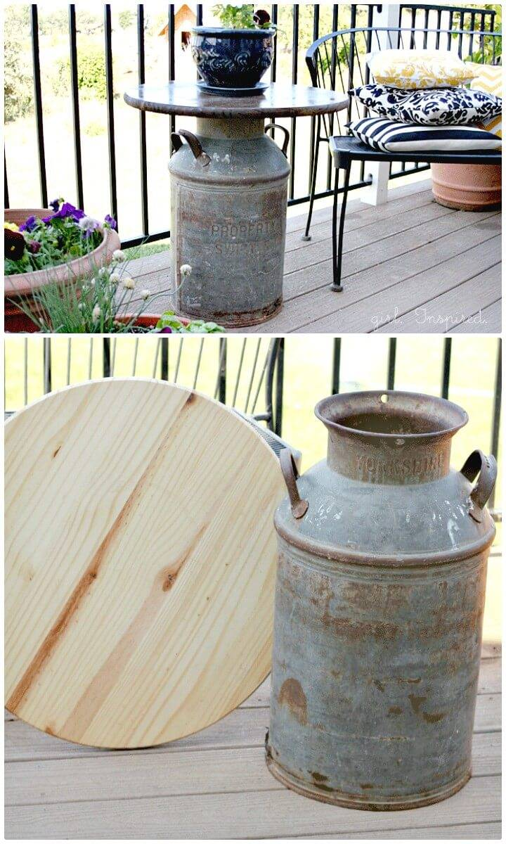 Make Your Own Antique Milk Can Side Table - DIY Garden Furniture