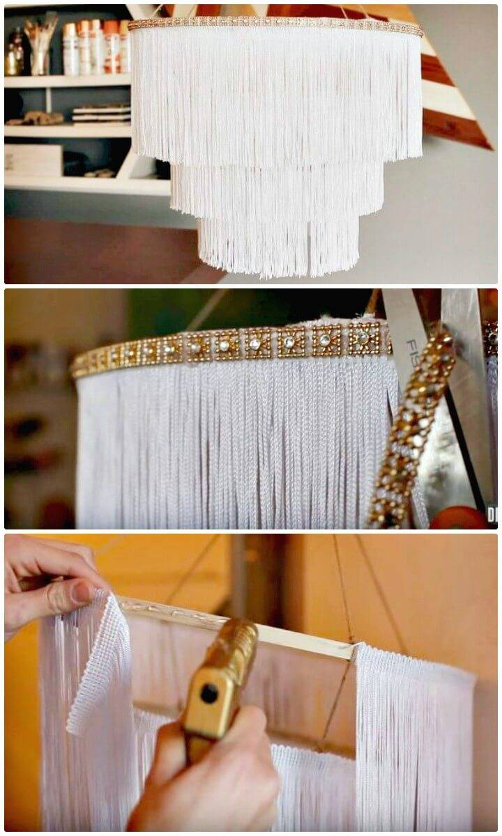 Make Your Own Boho Fringe Chandelier for Home Decor - DIY