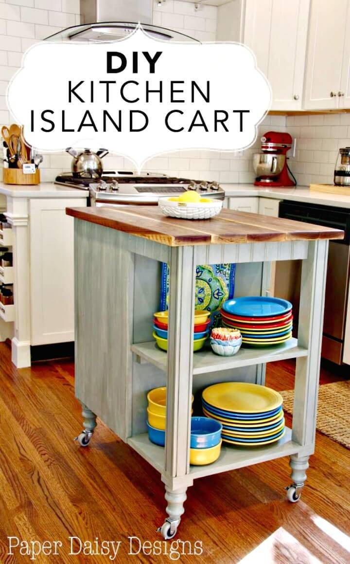 Adorable DIY Kitchen Island Cart
