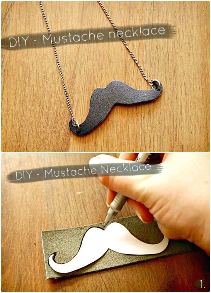 How to Make Leather Mustache Necklace - DIY