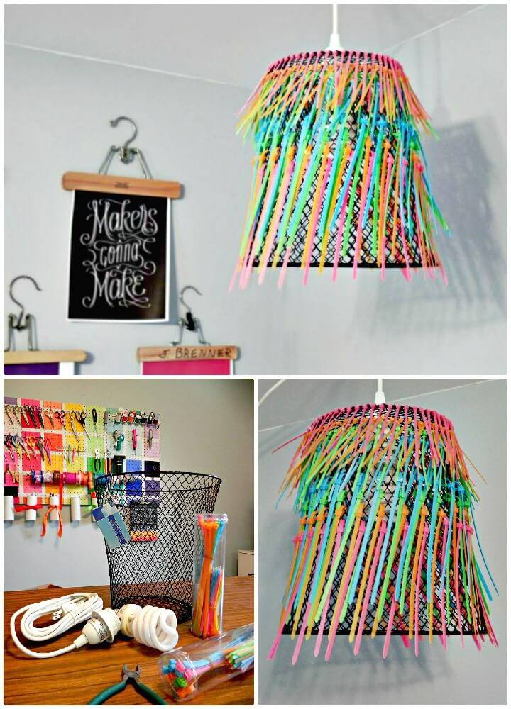 Make Your Own Ombre Neon Zip-tie Chandelier - DIY