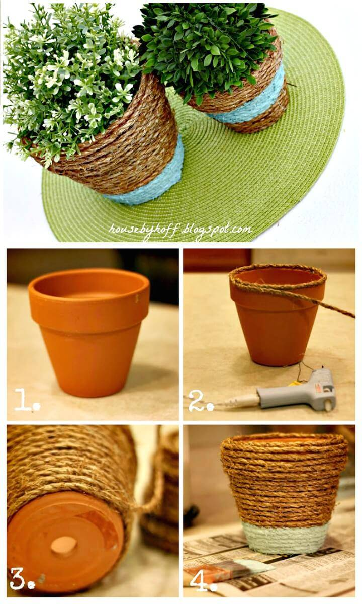 Make Your Own Rope-Wrapped Pots - DIY
