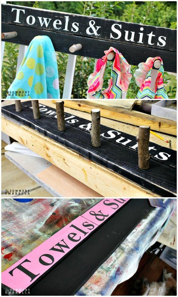 Make Your Own Towel Rack Wood Sign - DIY
