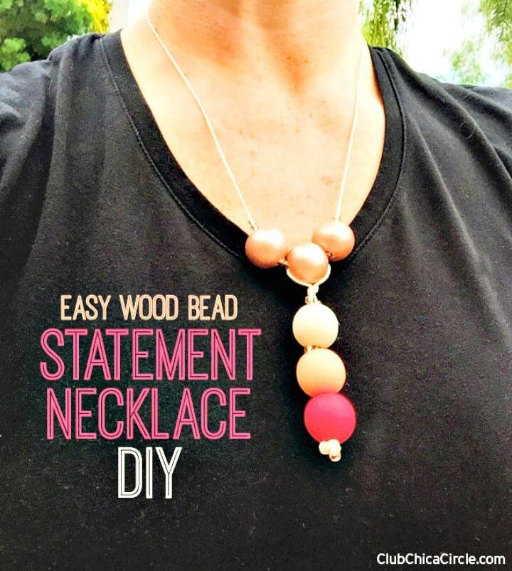 Make a Colorful Wood Bead Statement Necklace - DIY Homemade Jewelry