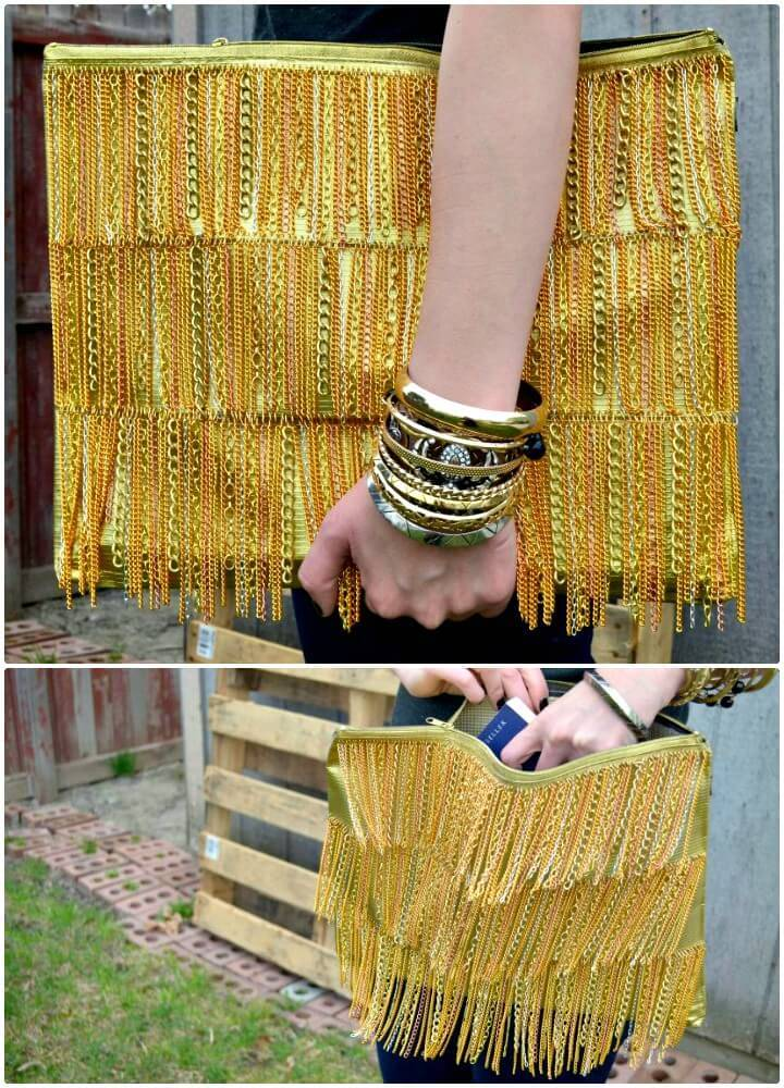 Modern DIY Gold Chain Fringe Clutch