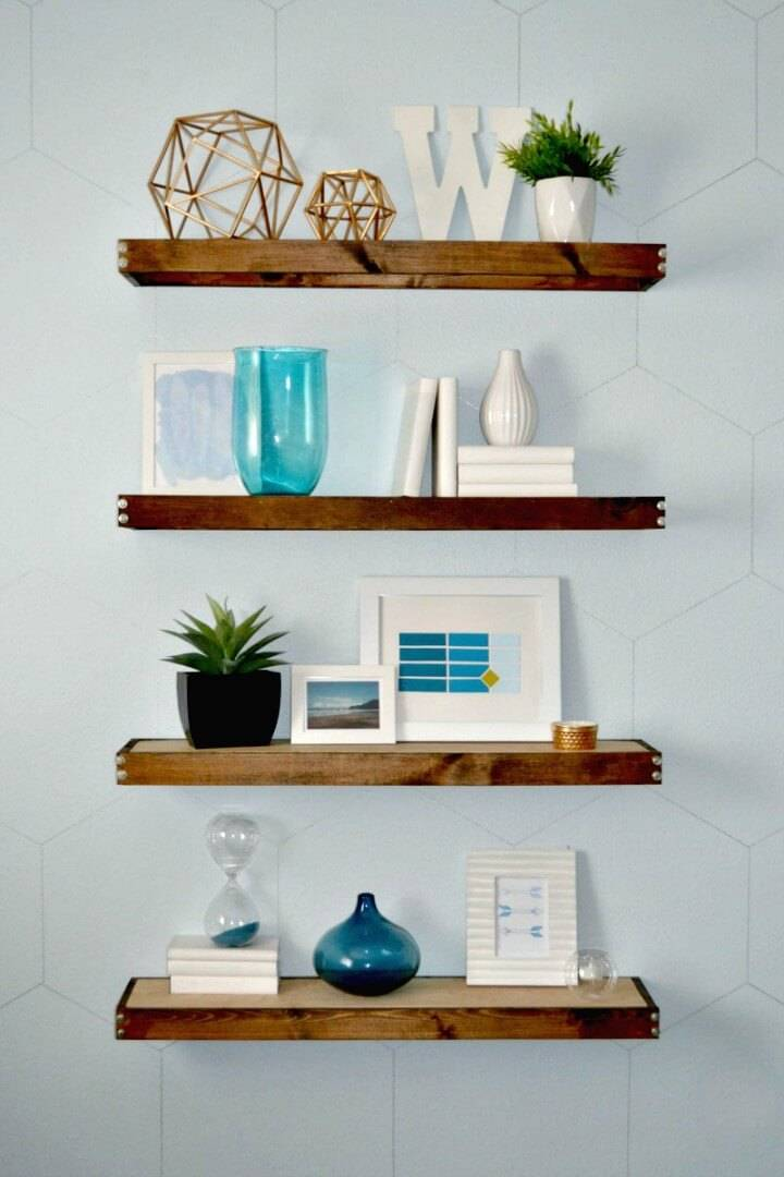 Modern DIY Rustic Wooden Floating Shelves