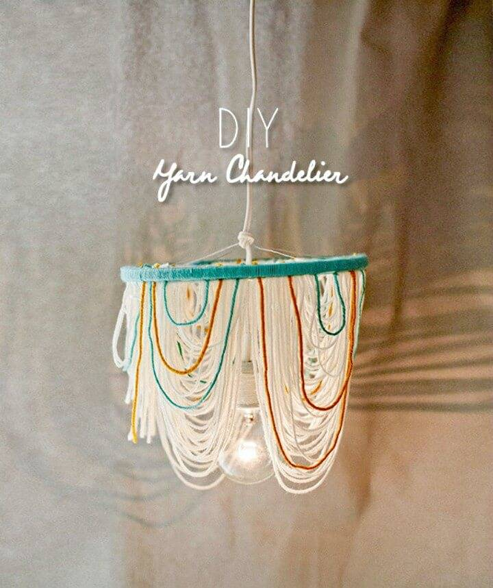 Modern DIY Yarn Chandelier - Indoor Lighting Ideas