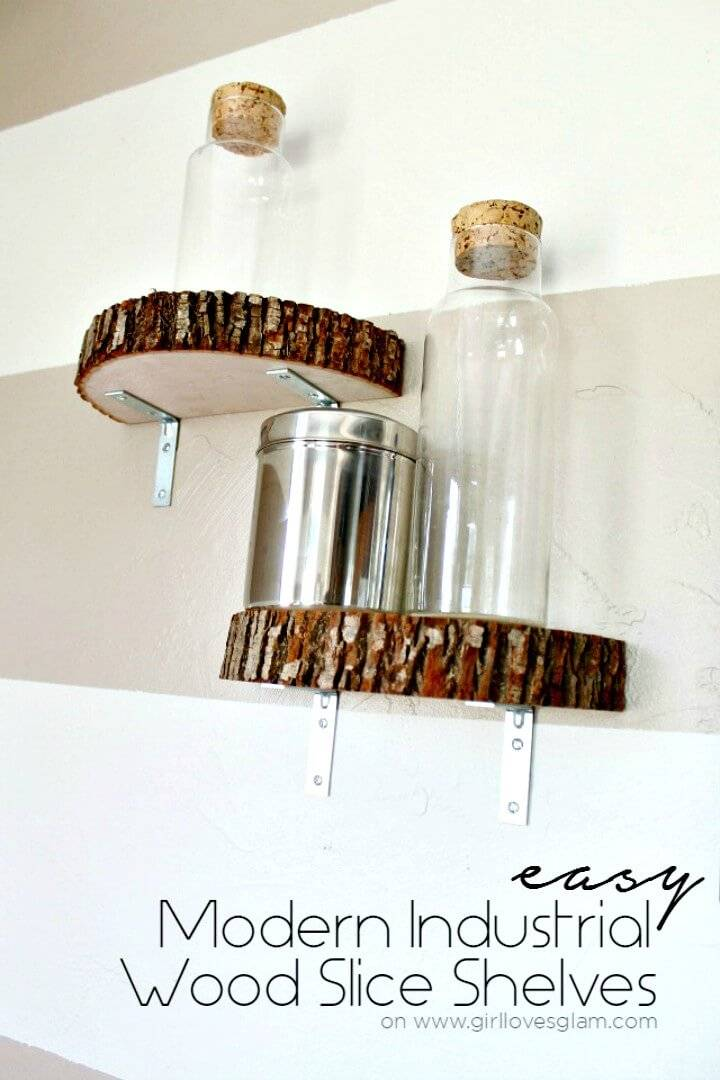 Modern How To Make Industrial Wood Slice Shelf - DIY