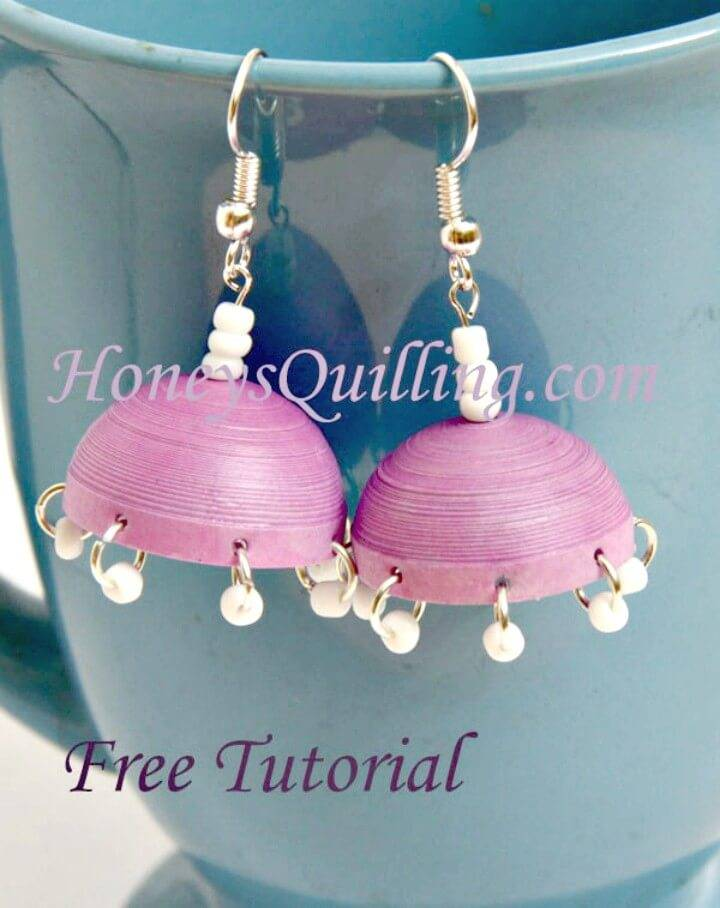 DIY Paper Quilled Jhumka Earrings With Dangles