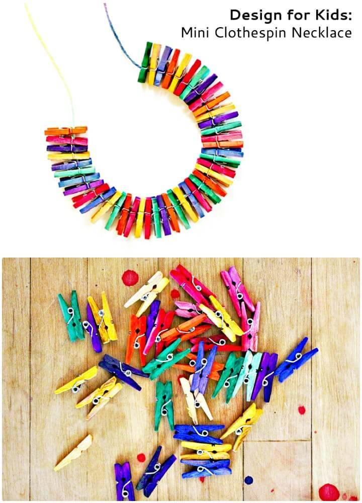 DIY Mini Clothespin Necklace