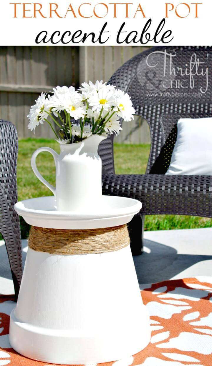 How to Repurposed Terracotta Pot Into Accent Table - DIY