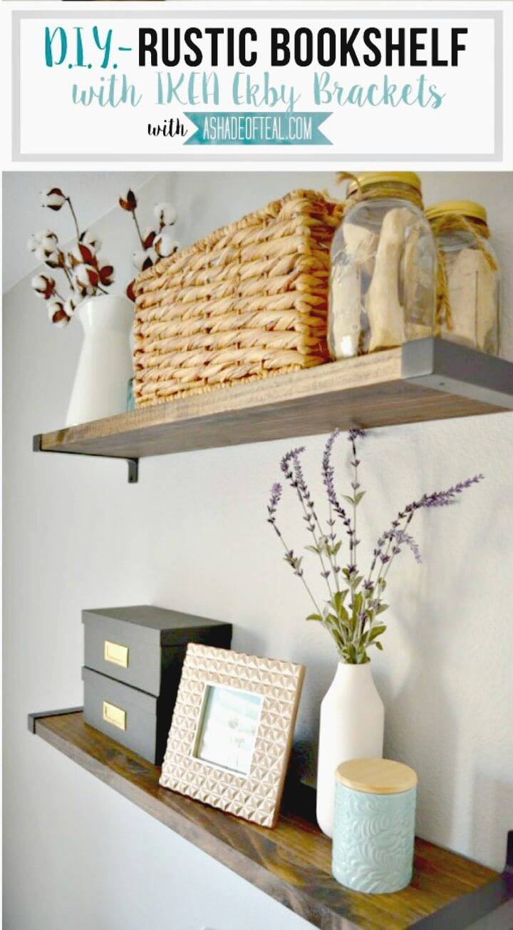 Rustic Build A Bookshelf With Ikea Ekby Brackets - DIY