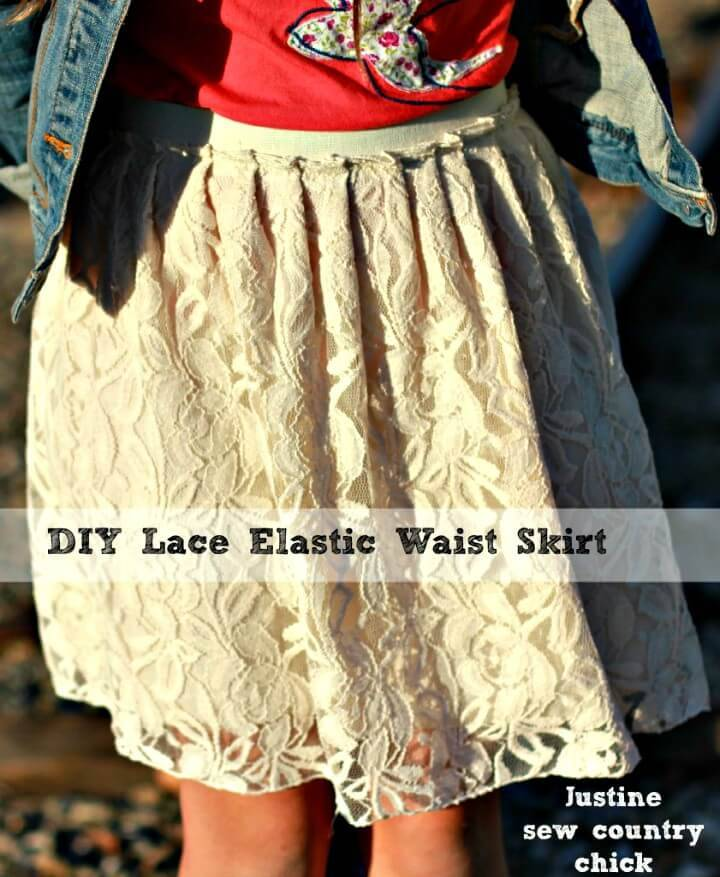 Simple DIY Lace Skirt With Elastic Waist