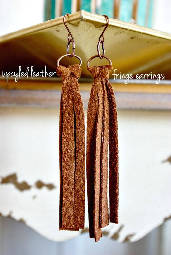 Simple DIY Leather Fringe Earrings