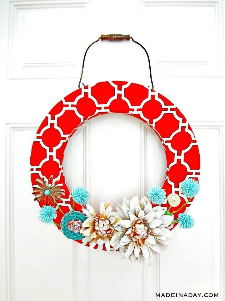 How to DIY Red Canvas Spring Wreath Tutorial