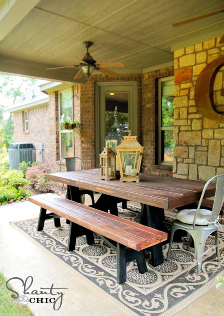 Simple DIY Sawhorse Outdoor Bench -Patio & Porch Decor Ideas