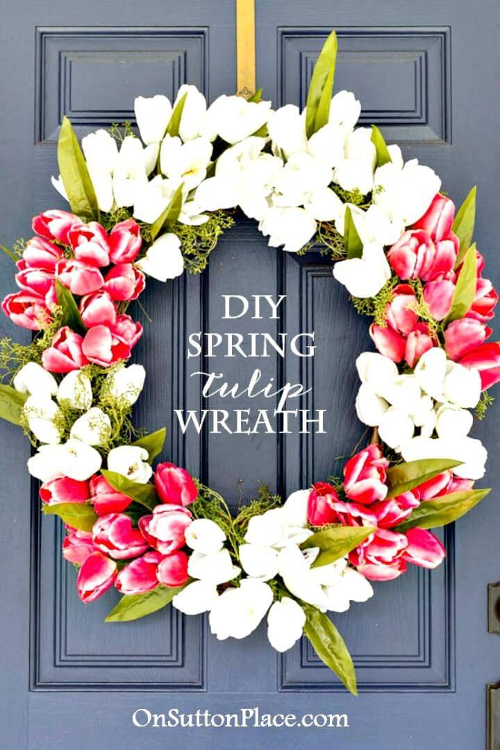 Beautiful DIY Spring Tulip Wreath for Spring