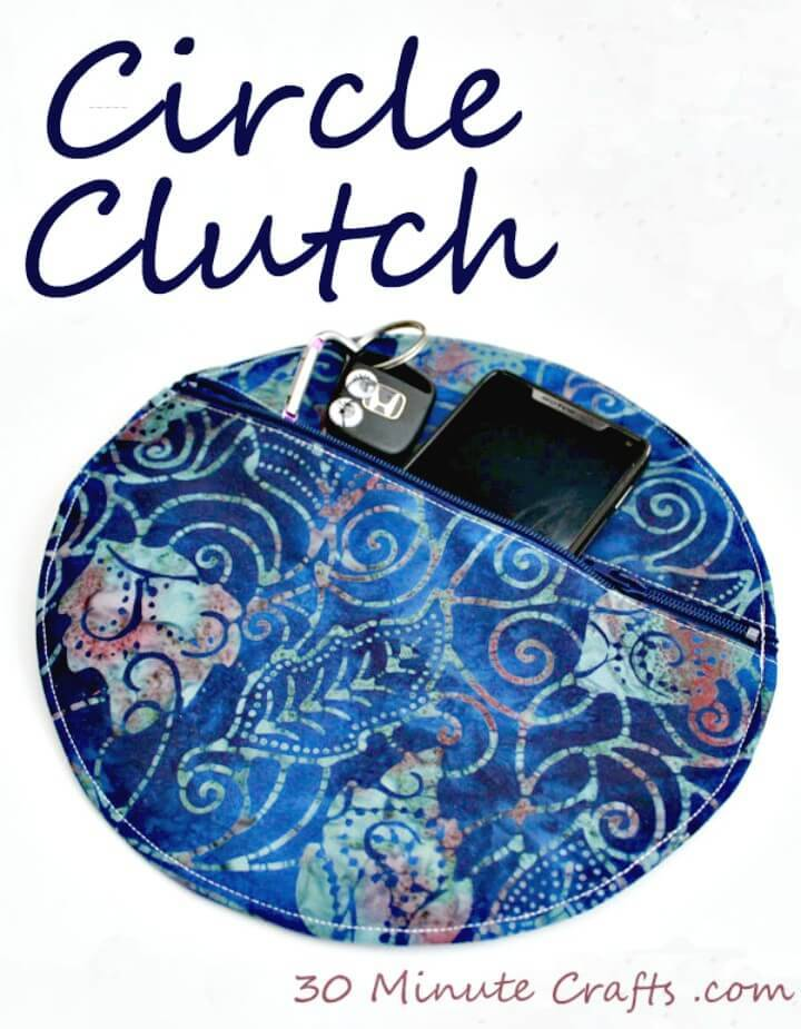 Simple DIY Stitched Circle Clutch