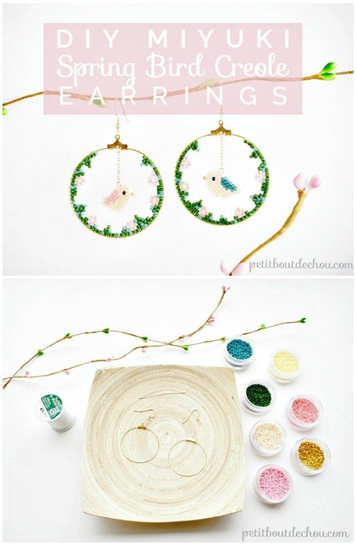 DIY Spring Bird Creole Earrings