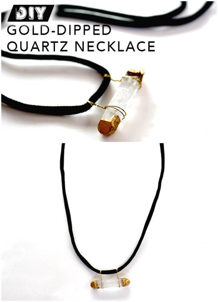 DIY Gold-dipped Wire-wrapped Quartz Necklace