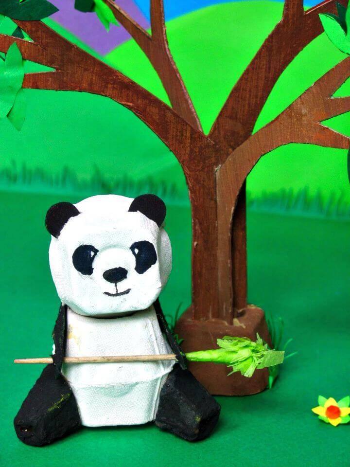 Adorable DIY Egg Box Panda