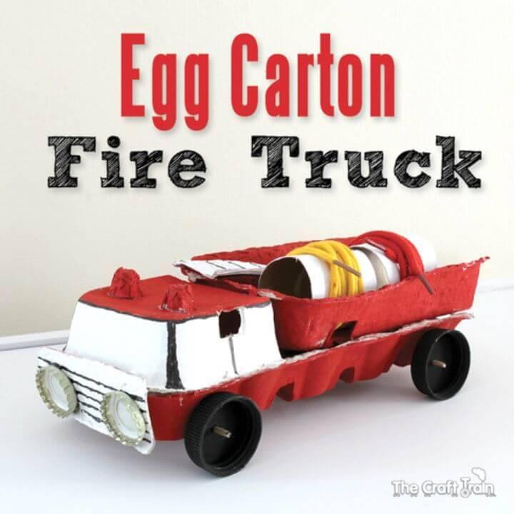 DIY Egg Carton Fire Truck Toys for Kids