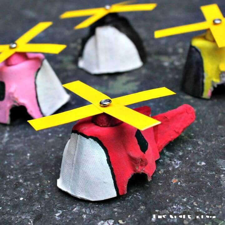 DIY Egg Carton Mini Copters for Kids to Play