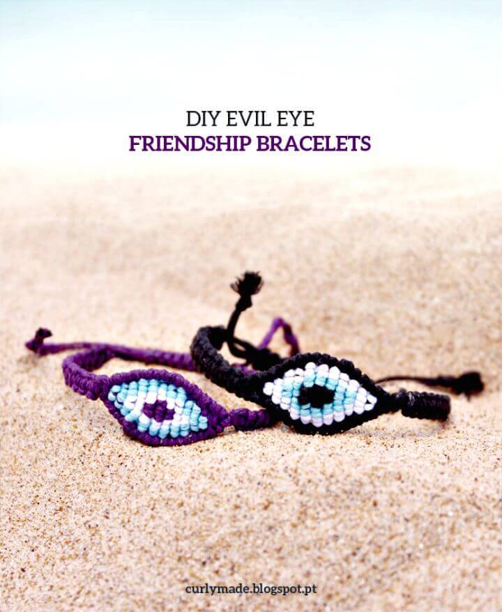 DIY Evil Eye Macramé Friendship Bracelets - Homemade Jewelry Ideas
