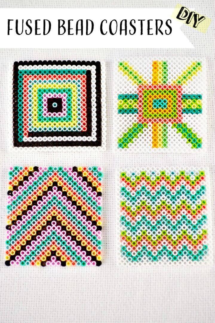Adorable DIY Geometric Fused Bead Coasters