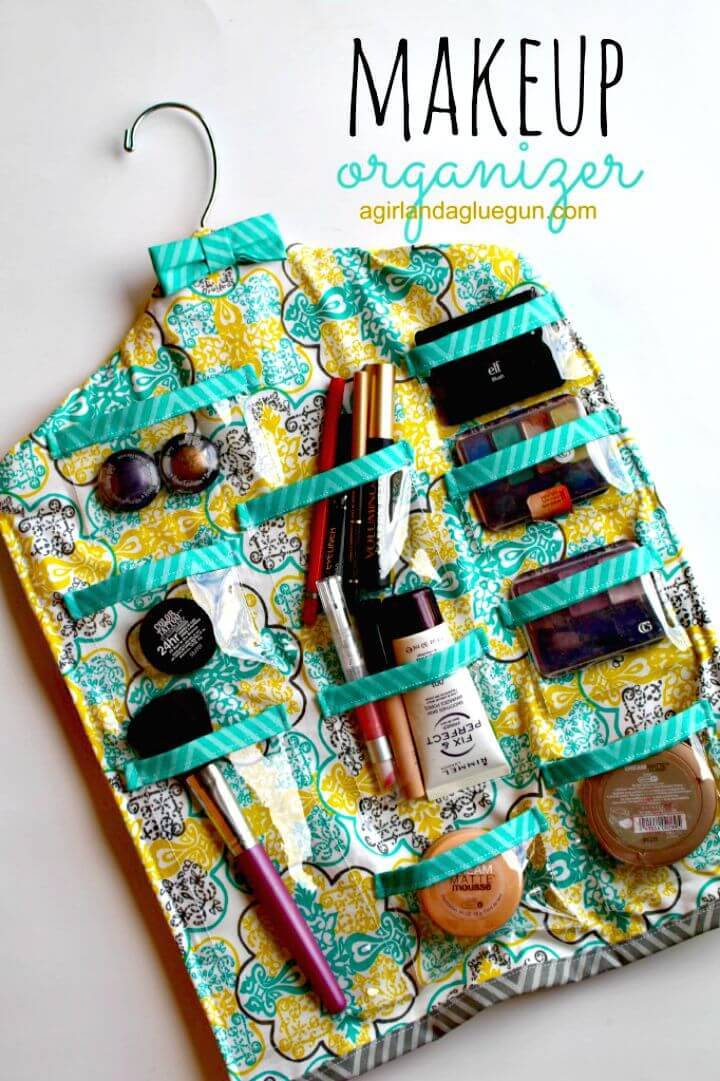 Adorable DIY Hanging Makeup Organizer
