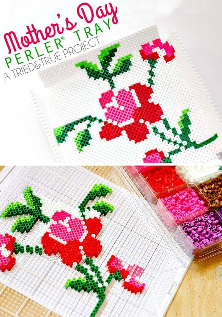 Adorable DIY Mother's Day Perler Bead Tray