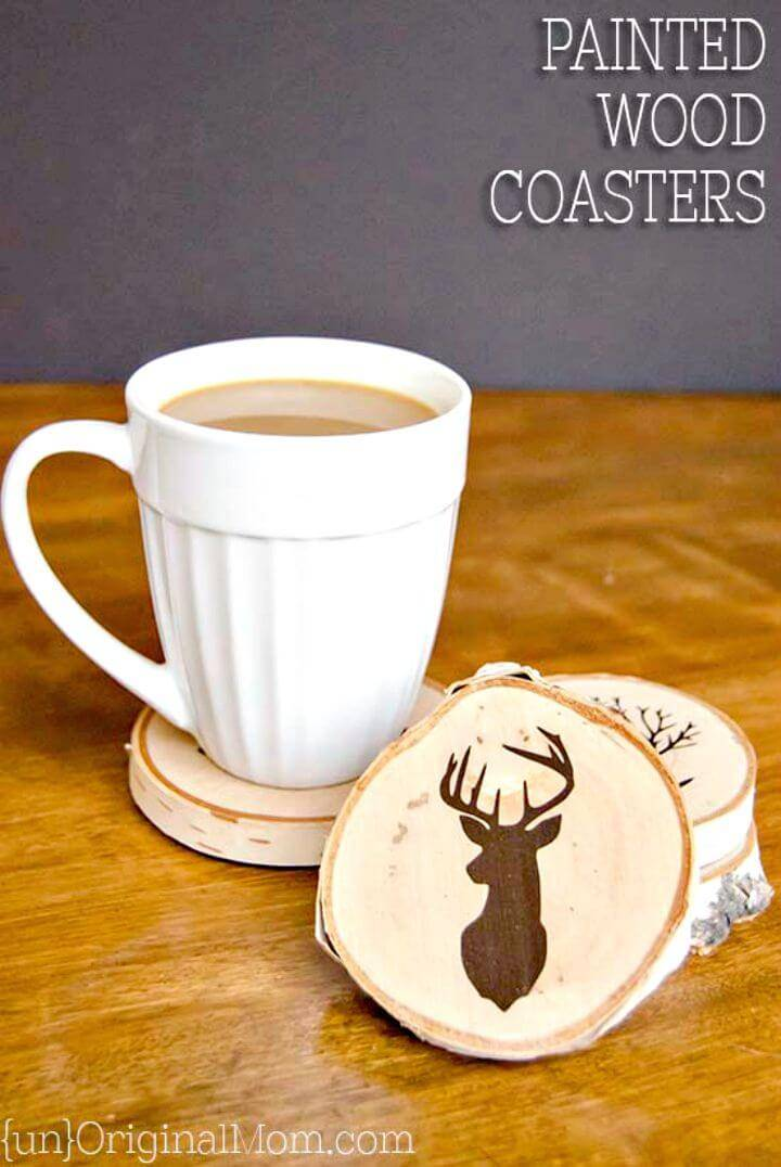 Adorable DIY Painted Wood Slice Coasters - Mothers Day Gifts