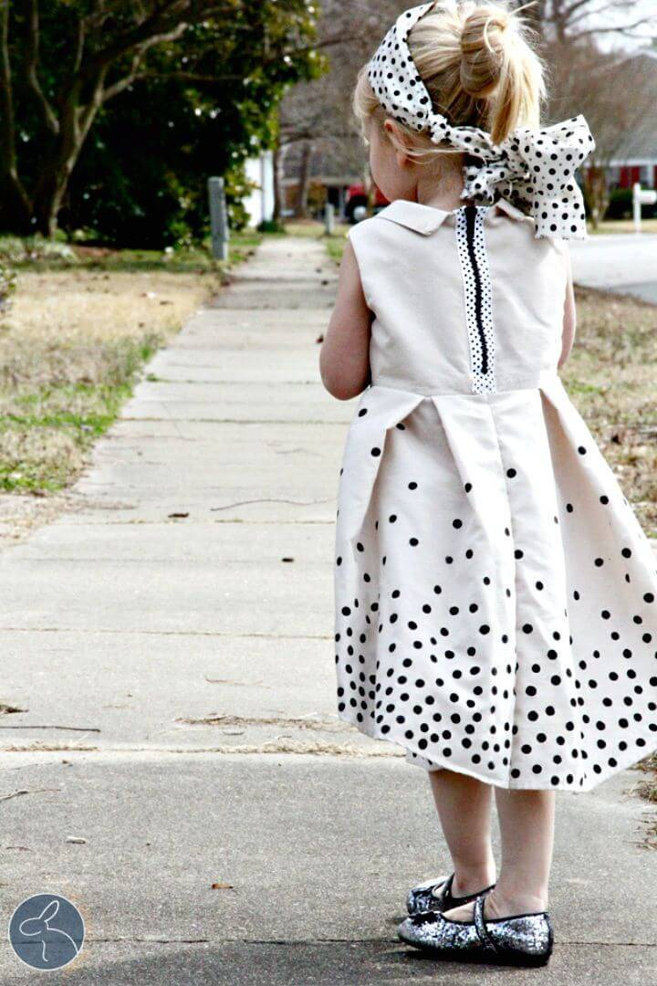 How to DIY Polka Dot Dress for Little Girl