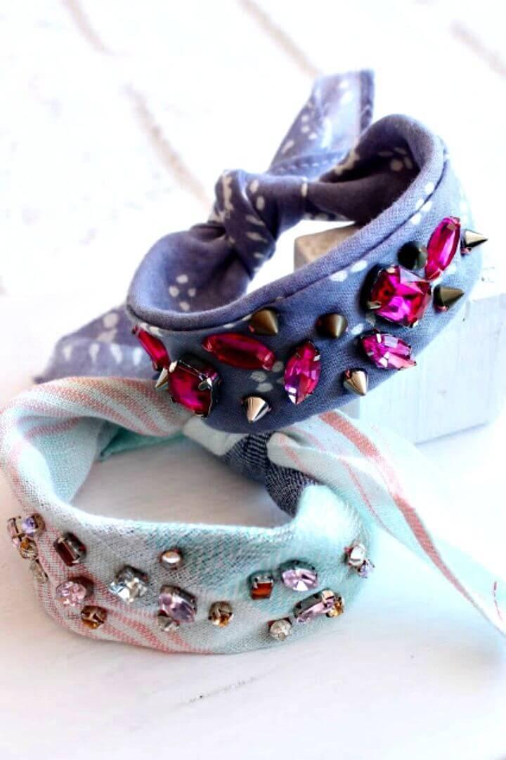 Adorable DIY Rhinestone Bandana Bracelets
