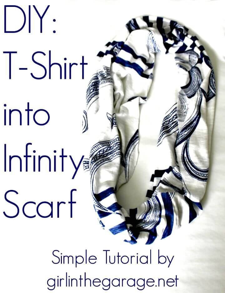 Adorable DIY T-shirt Into Infinity Scarf