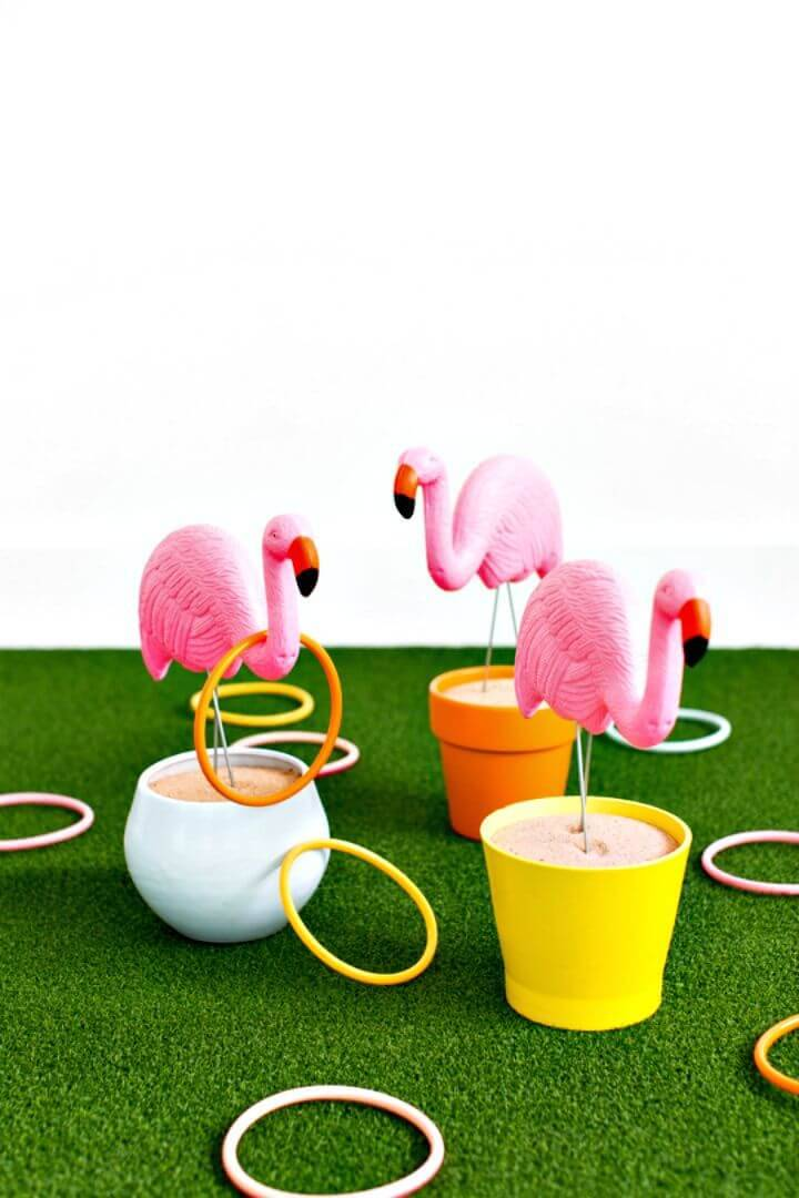 Quick DIY Flamingo Ring Toss Yard Game
