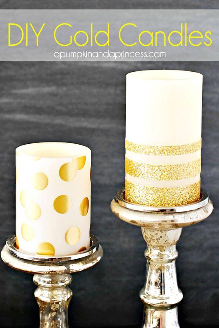 Awesome DIY Gold Glitter Candles - Summer Party Decor