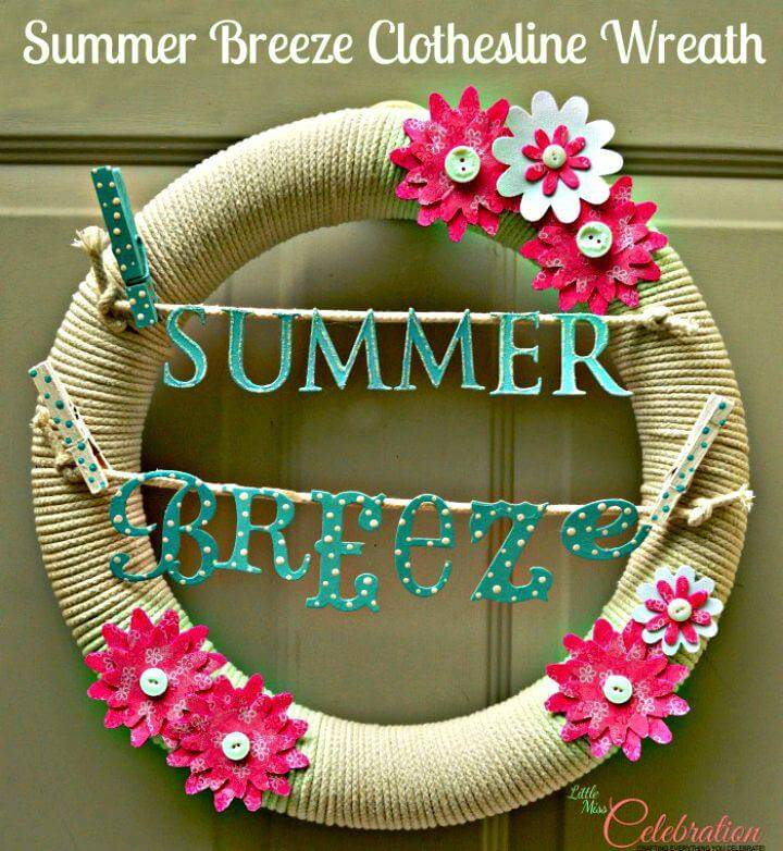 DIY Summer Breeze Clothesline Wreath