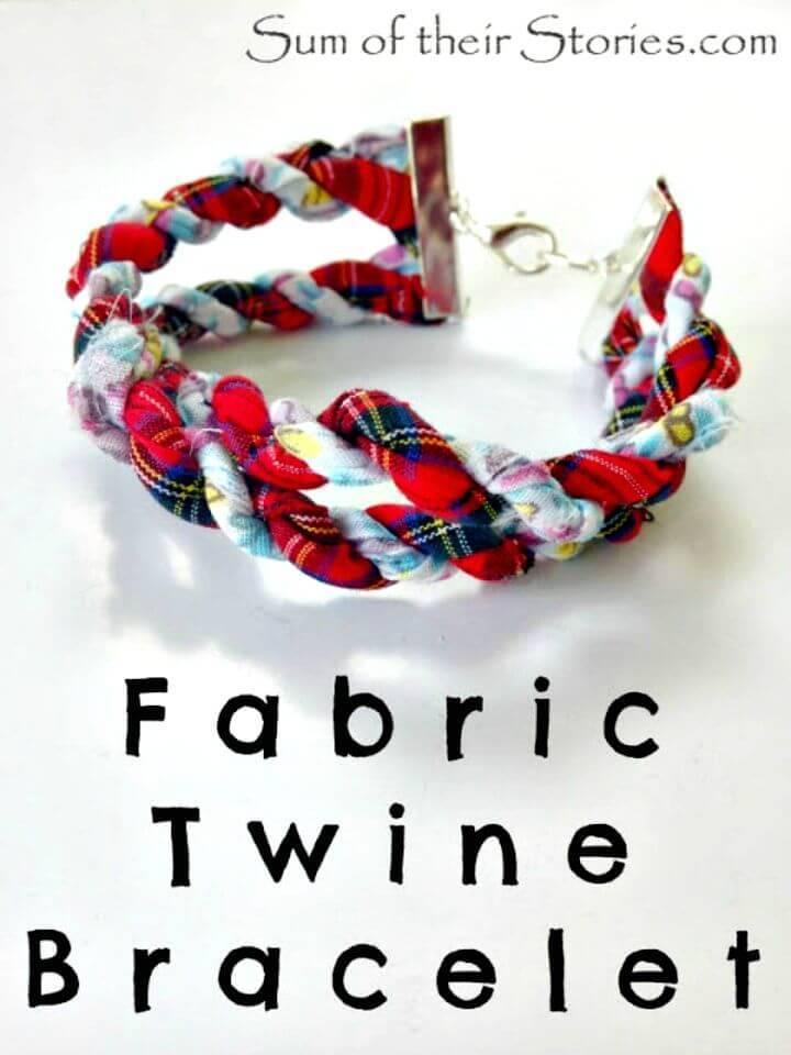 DIY Scrapbusting Fabric Twine Bracelet