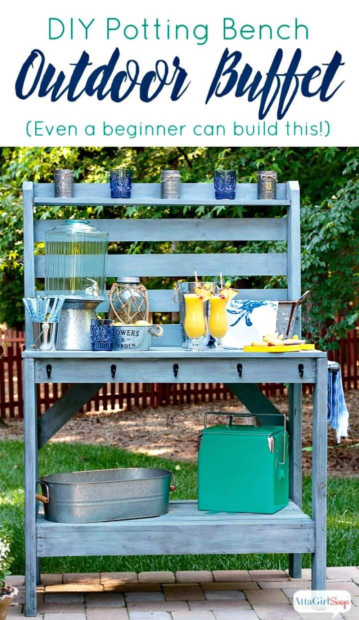 Build Potting Bench & Outdoor Buffet Table -DIY