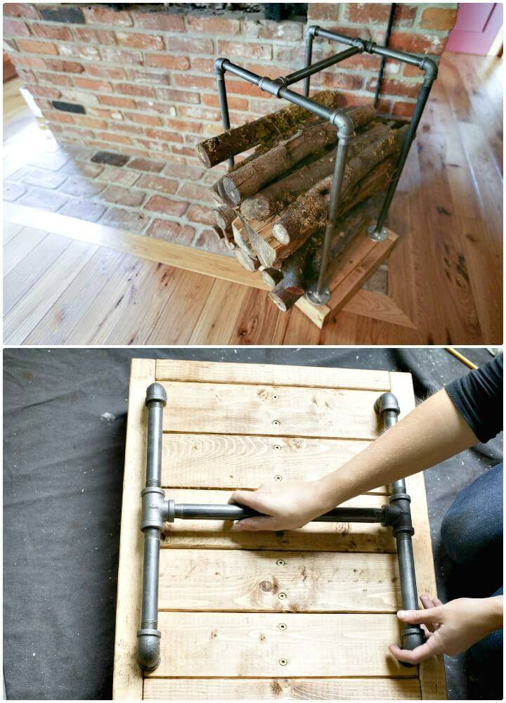 DIY Firewood Holder with Wooden Boards and The PVC Pipes