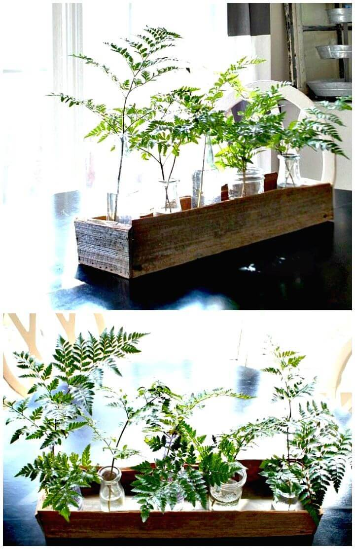 DIY Planter Wooden Box Centerpiece
