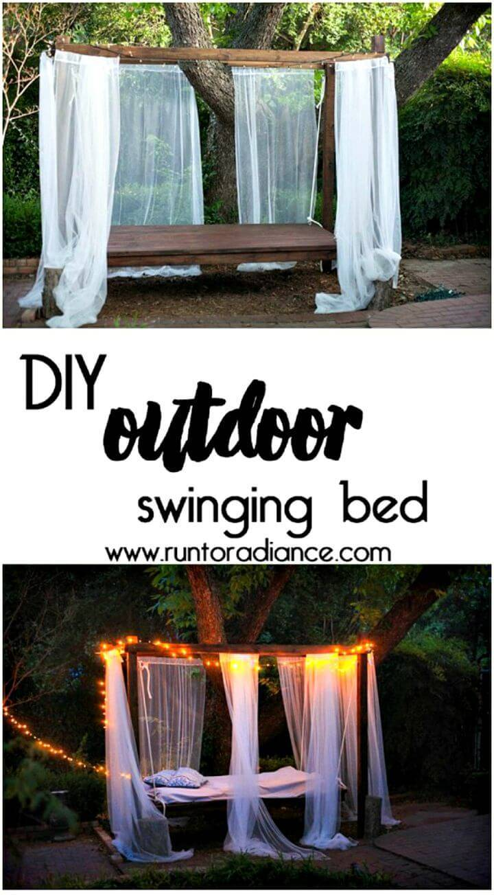 Build Your Own an Outdoor Swinging Bed - DIY Ideas