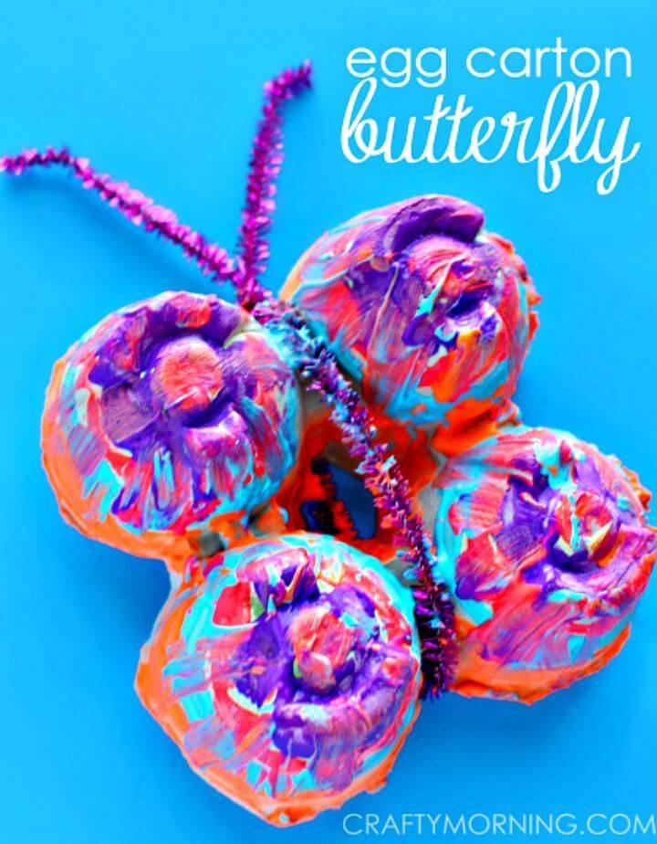 Colorful DIY Egg Carton Butterfly - Egg Carton Crafts