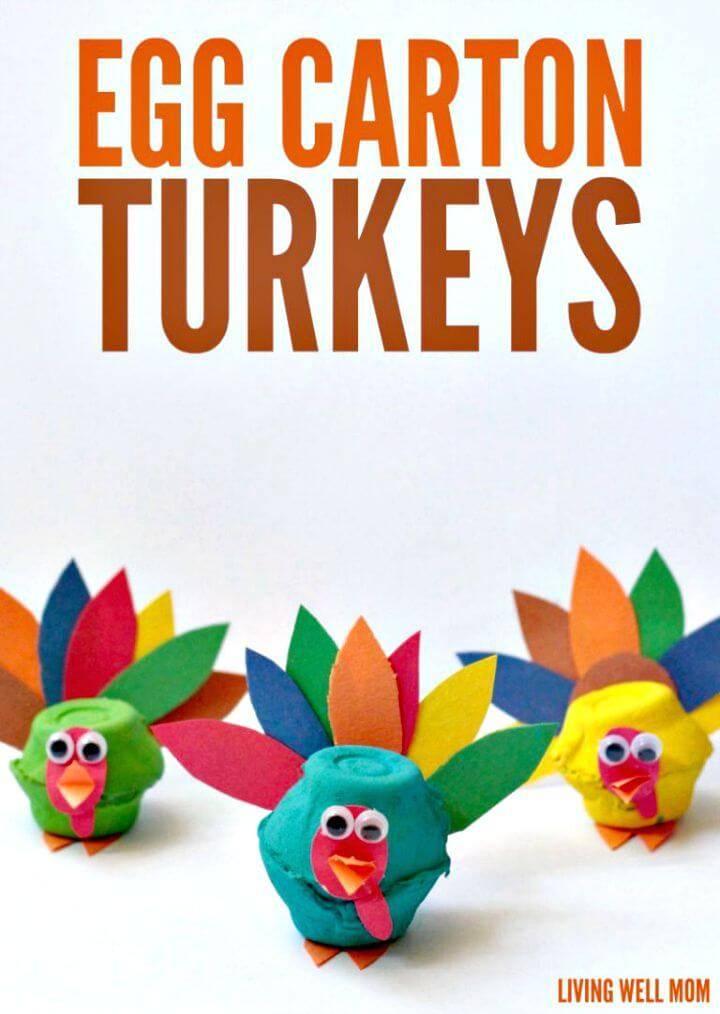 Create Egg Carton Turkeys Craft - DIY