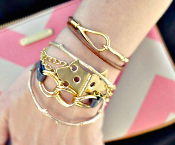 Create Hinge Bracelet With Gold Chains - DIY