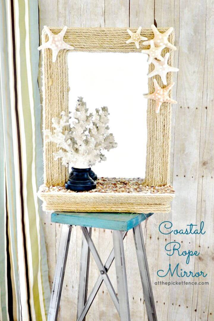 Cute DIY Coastal Rope Mirror Makeover