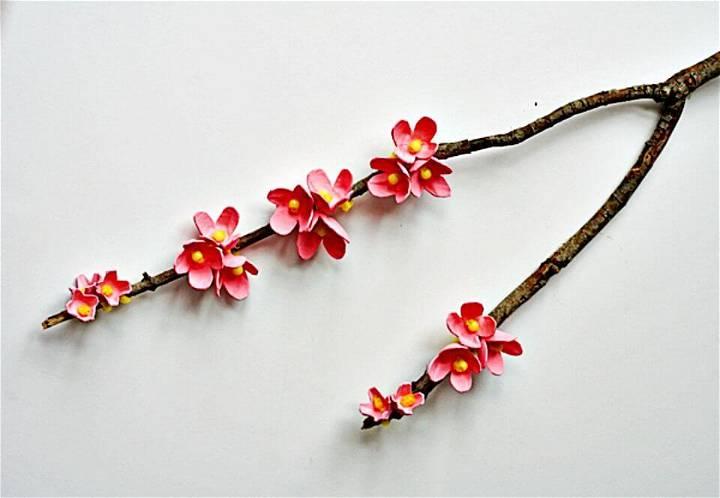 DIY Egg Carton Cherry Blossom Branch
