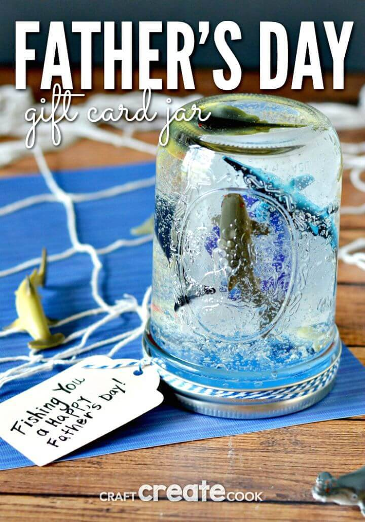 DIY Father's Day Gift Card Jar - Mason Jar Crafts