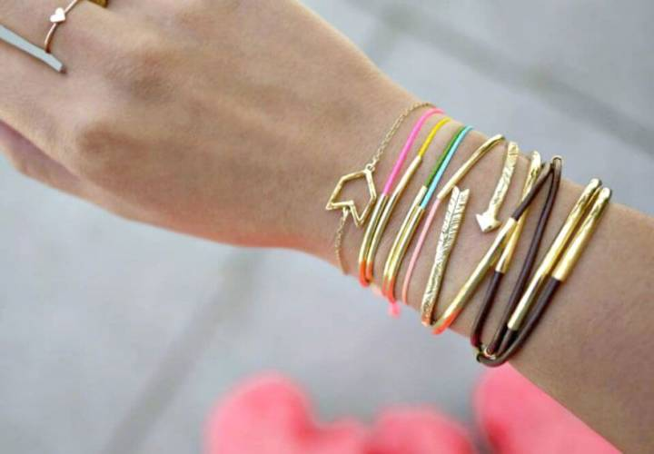 Cute DIY Gold Tube Bracelets